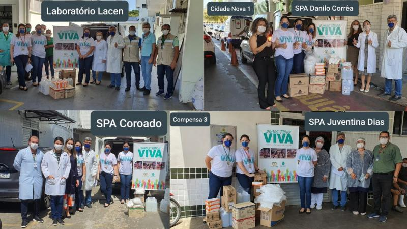 Assembleia doa álcool gel, máscaras e materiais de proteção para profissionais de quatro instituições de saúde