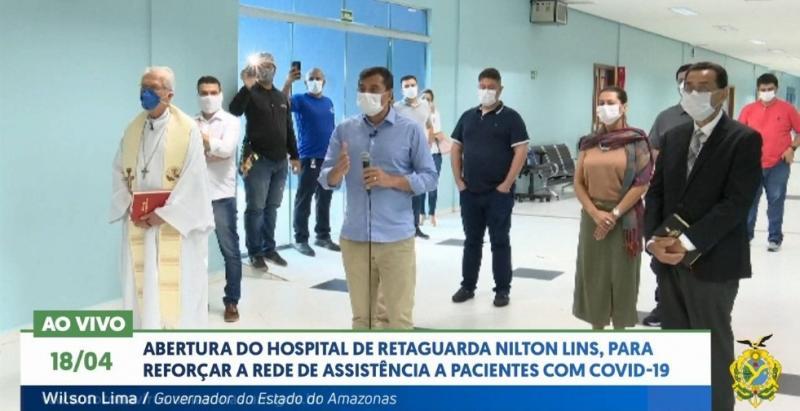 Abertura do hospital de retaguarda Nilton Lins, para reforçar a rede de resistência a pacientes com  Covid-19