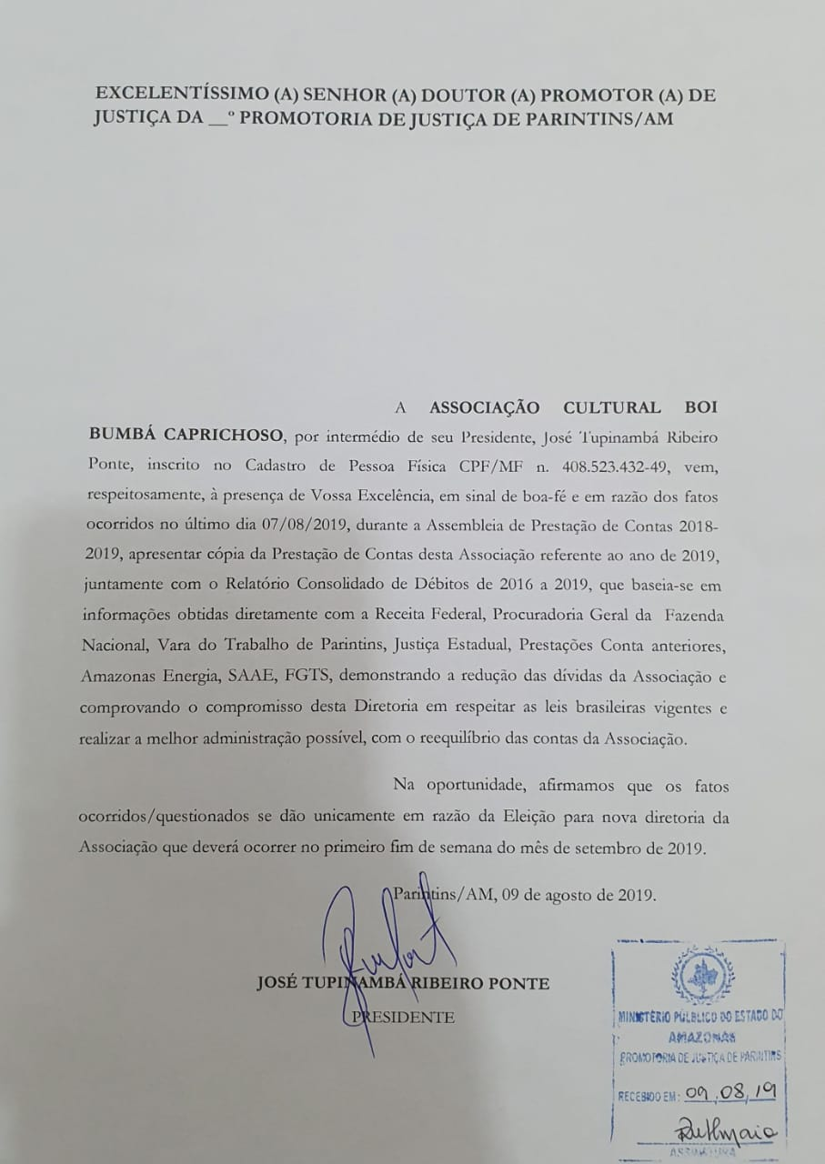 Documento da prestação de contas do boi Caprichoso (09-08-2019)